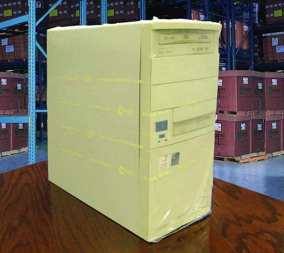 Computer tower rapped with VpCI-125 shrink film